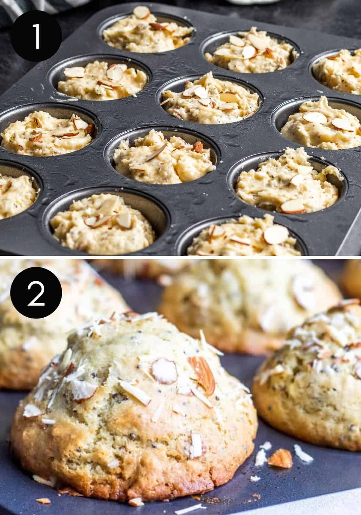 Two image collage showing muffin batter in tin and finished muffins.