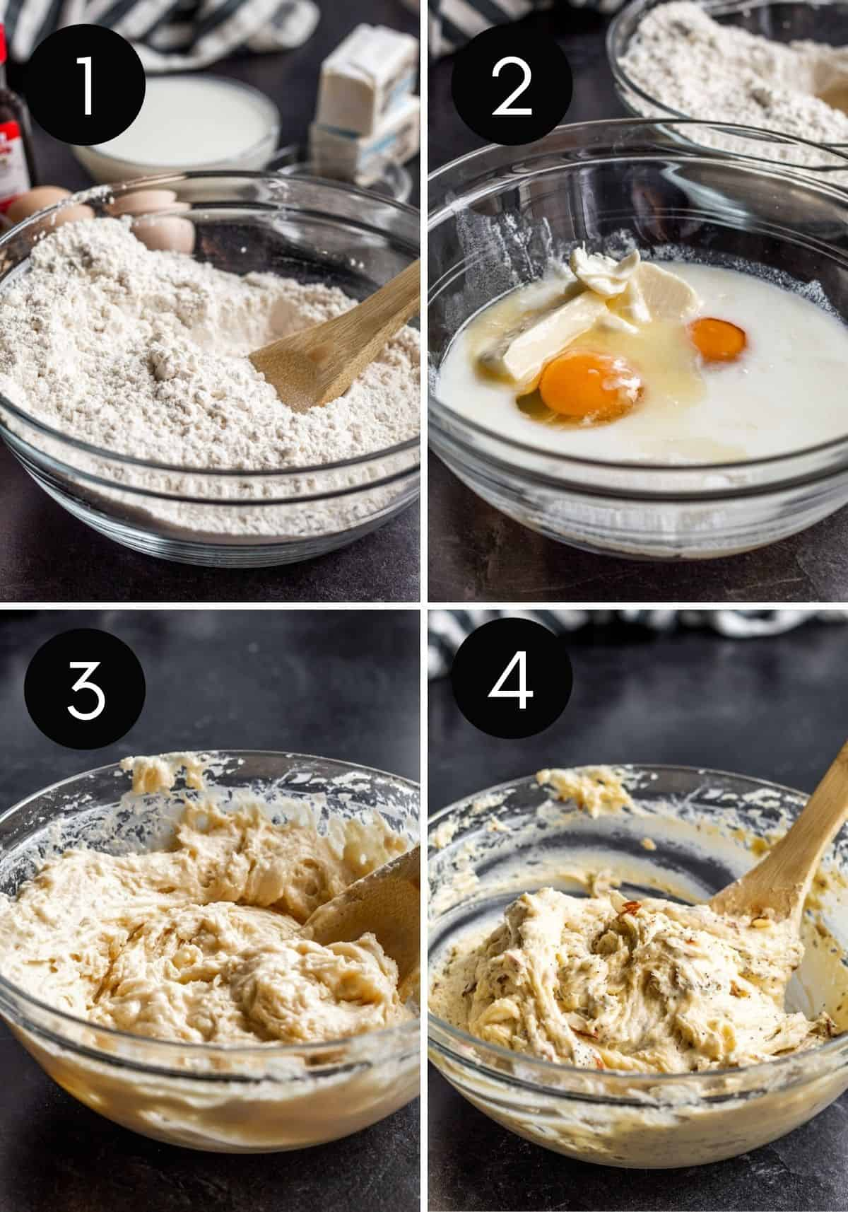 Four image prep collage showing poppy seed muffin batter being made.
