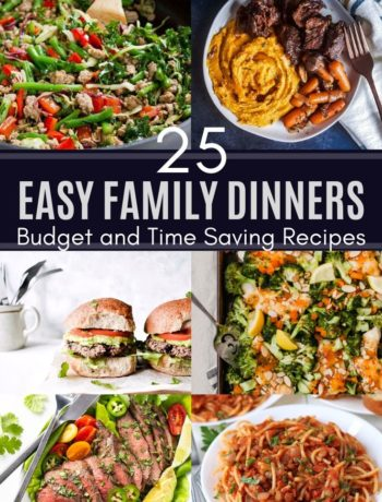 @5 best family dinner recipes collage image with white title text in the middle.
