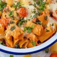 Creamy Tomato and Chicken Pasta Bake