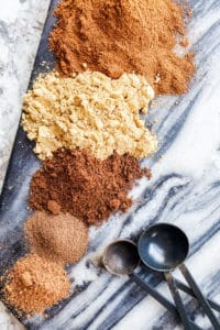 Cinnamon, nutmeg, ginger, cloves and allspice on a blue marble board in a line with black measuring spoons next to them