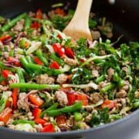 Ground Turkey Stir-Fry with Greens Beans & Kale - 20-Minute Meal