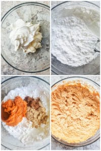 Prep image for pumpkin cheesecake dip. Four images showing cooking process from start to finish.