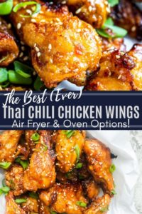 Pin for sweet chili chicken wings. Pin is two images with white text in the middle.