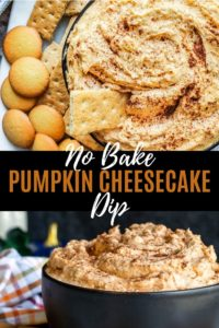 Pin image for pumpkin cheesecake dip recipe. Combination of two images of pumpkin dip in a black bowl with white and orange title text.