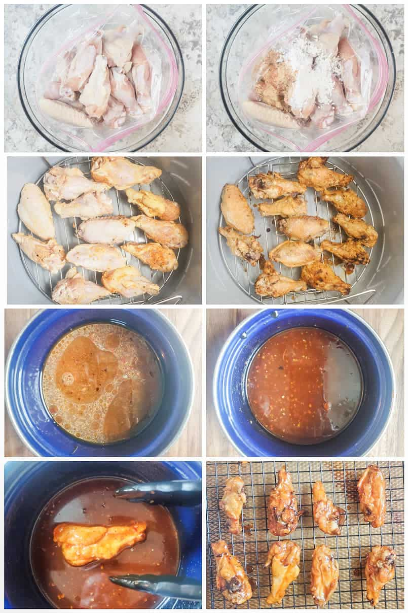 Prep image for sweet chili chicken wings showing step by step instructions.