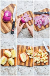 Prep image for salad showing apple and rec onion being cut on a wooden cutting board.