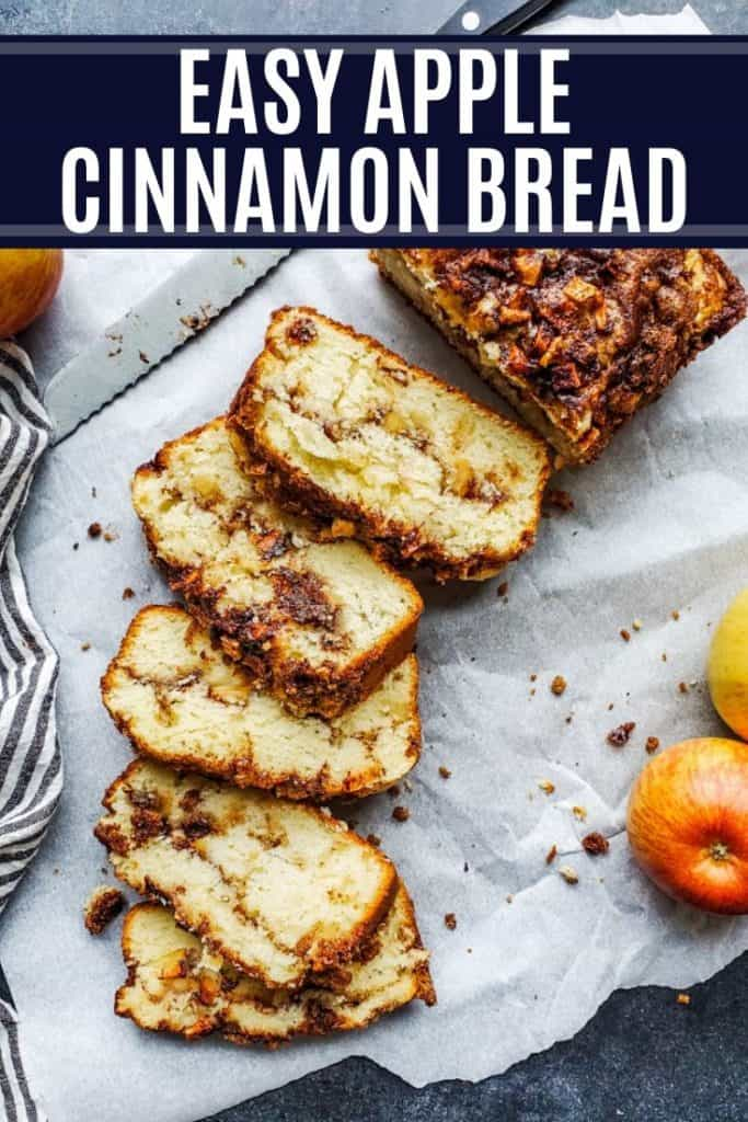Pin showing apple cinnamon bread on parchment paper with white text overlay.