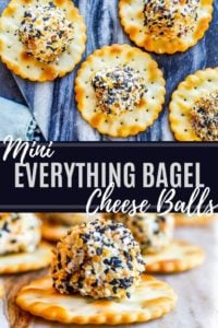 Pin showing bagel cheese balls on a blue cutting board with white text in the middle.