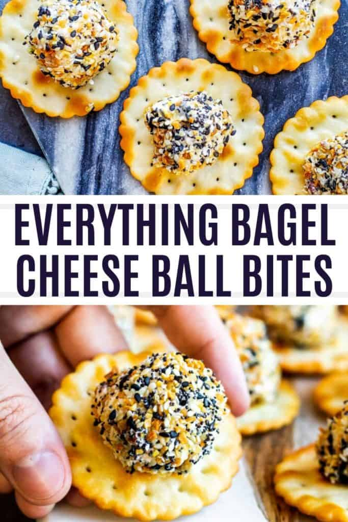 Pin for everything bagel cheese ball pin with white and black text.