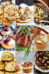 Collage of nine Easy Thanksgiving recipes ranging from mains to drinks.