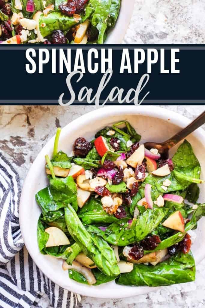 Spinach Apple Salad recipe pin with text overlay.