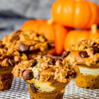 Pumpkin Chocolate Chip Muffins with Cream Cheese & Streusel