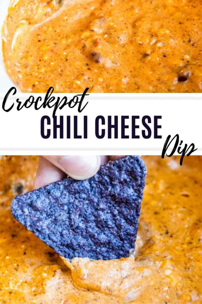Pin for chili dip with black text overlay.