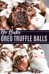Pin for Oreo truffle balls recipe showing to recipe images with white text in the middle.