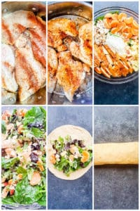 Six image collage showing chicken cooking, ingredients in glass bowl and rolling the wrap.