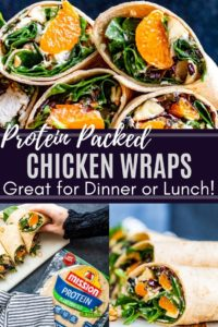 Pin 1 for healthy chicken wraps showing three recipe images with text in the middle.