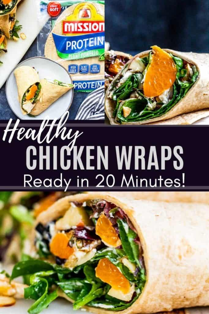 Chicken wraps pin with 3 images and title text.