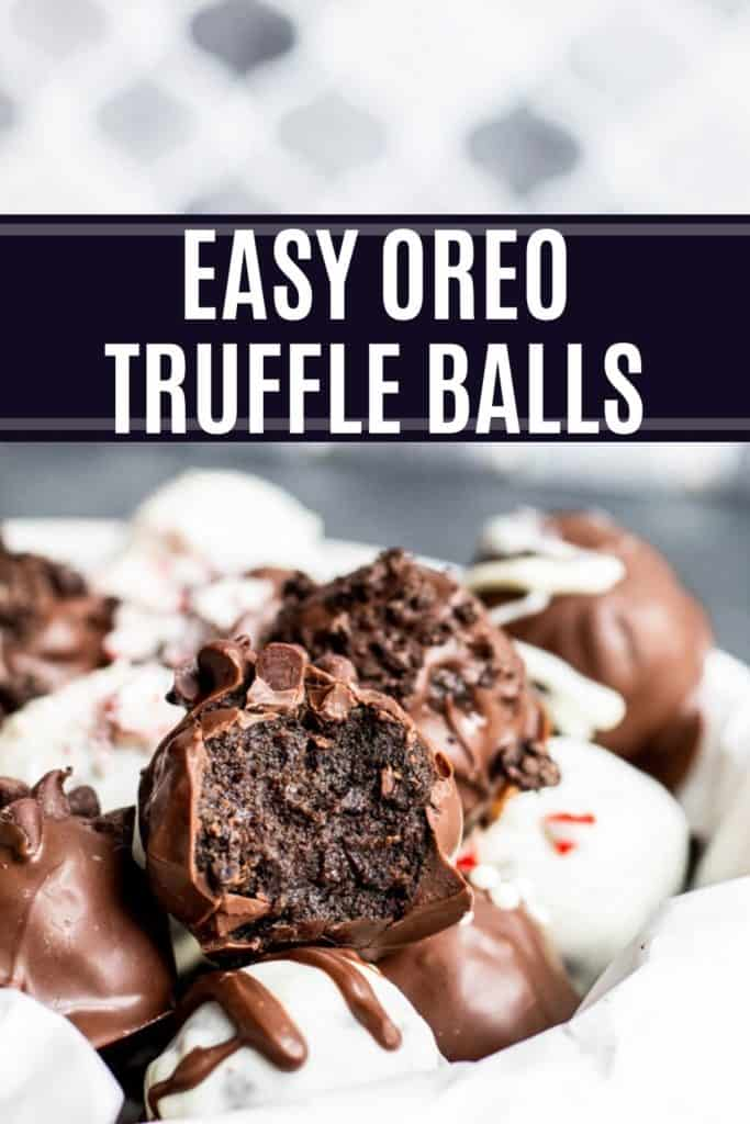 Pin for oreo truffle balls recipe pin with text.