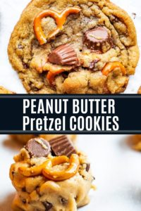 Pin for peanut butter cup cookies showing two cookie images with text in the middle.