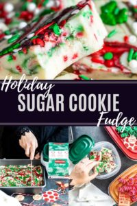 Homemade sugar cookie fudge recipe pin with white text in the middle.