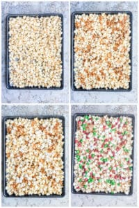 Prep image showing ingredients being combined on a large cookie sheet on a white counter.