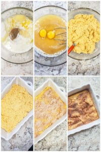 Six prep image collage showing ingredients being combined in a glass bowl then put in a white baking dish.