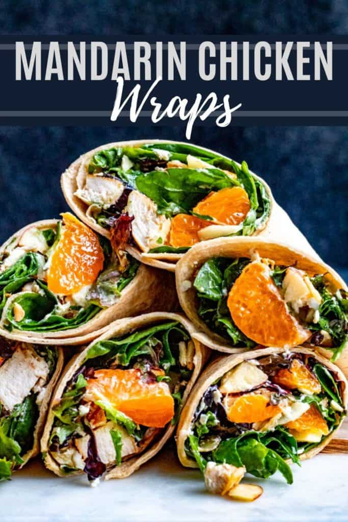 Chicken Wraps recipe pin with white text.