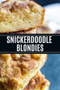 Pin showing snickerdoodle brownies with text in the middle.