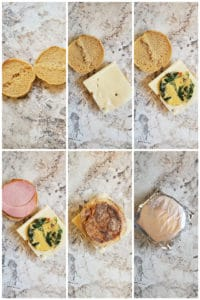 Step by step images showing breakfast sandwich assembly.