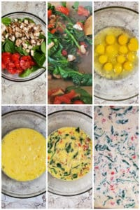 Prep image showing veggies in a glass bowl then being cooked and combined with eggs for sandwiches.