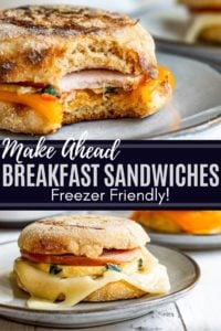 Pin showing two images of breakfast sandwiches on gray plates with white text in the middle.