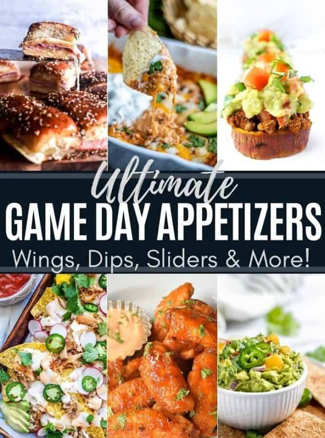 Image showing six game day appetizers recipes with text in the middle.
