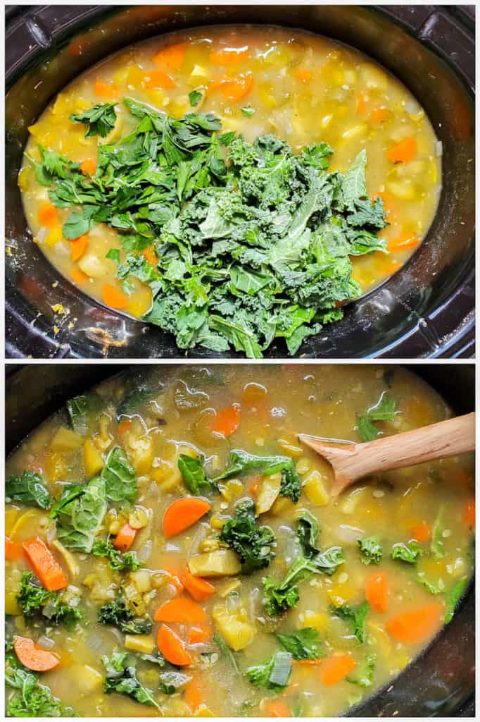 Two images showing the soup being prepped in a large crockpot.