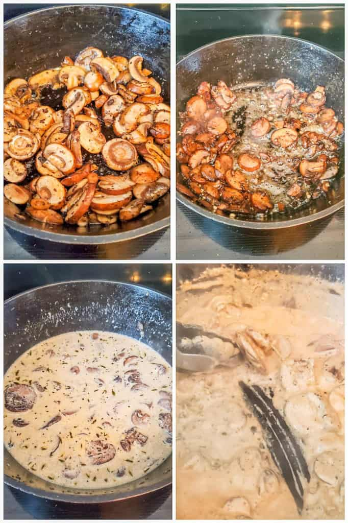 Prep image for creamy mushroom sauce showing four images of the sauce being prepped and cooked.
