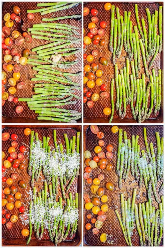 Four prep shots for asparagus cooking on a baking sheet.