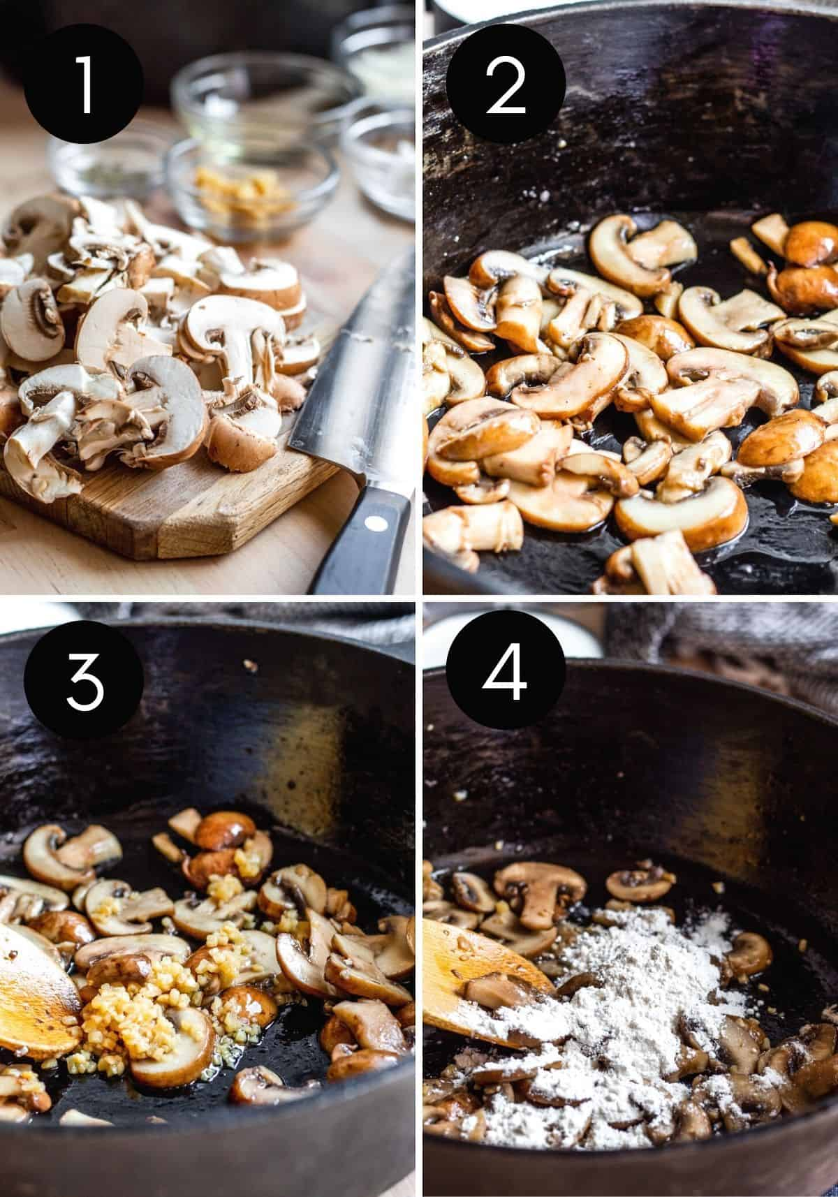 Prep image showing mushrooms being sliced and cooked in skillet.
