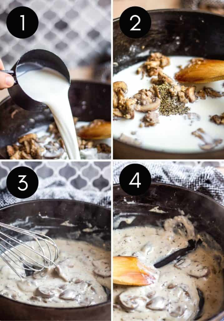 Four prep images showing sauce thickening and finished recipe.