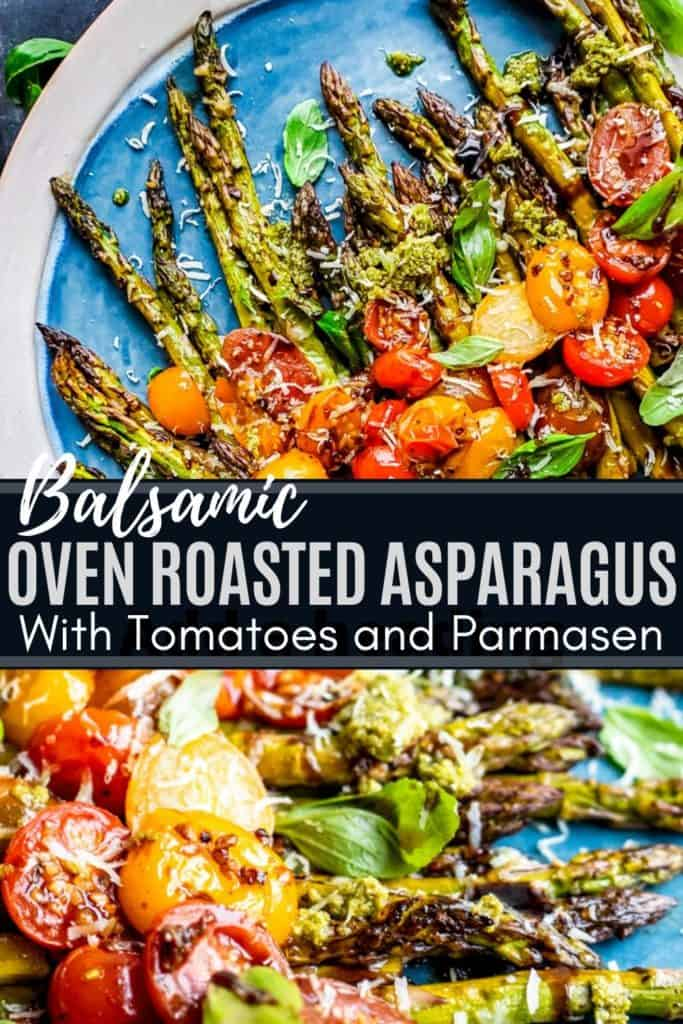 Pin for roasted asparagus with white and blue text overlay.