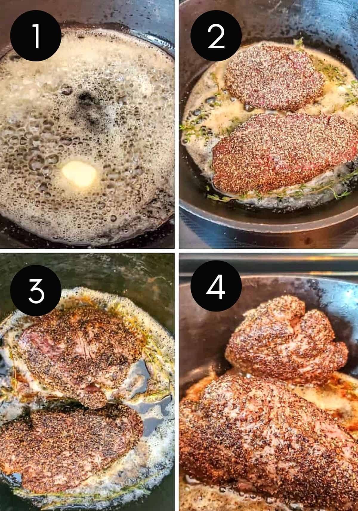 Four Prep image collage showing filet being pan seared and cooked in pan.