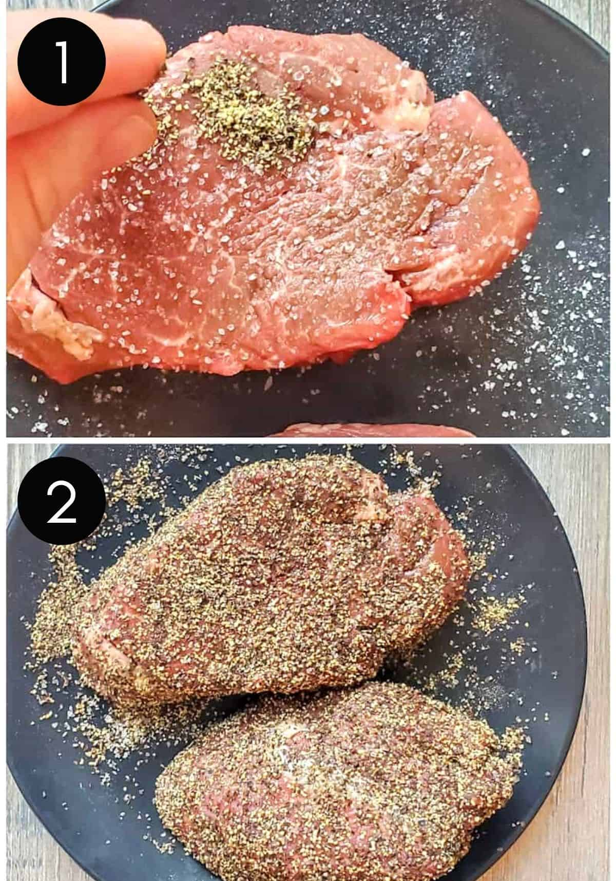 Two images showing steak being coated in pepper.