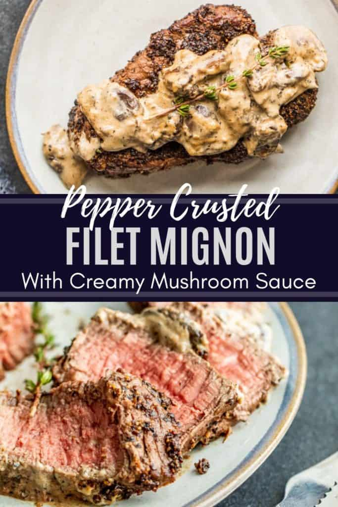 Pin for pepper crusted steak recipe with two images and blue overlay with white text.