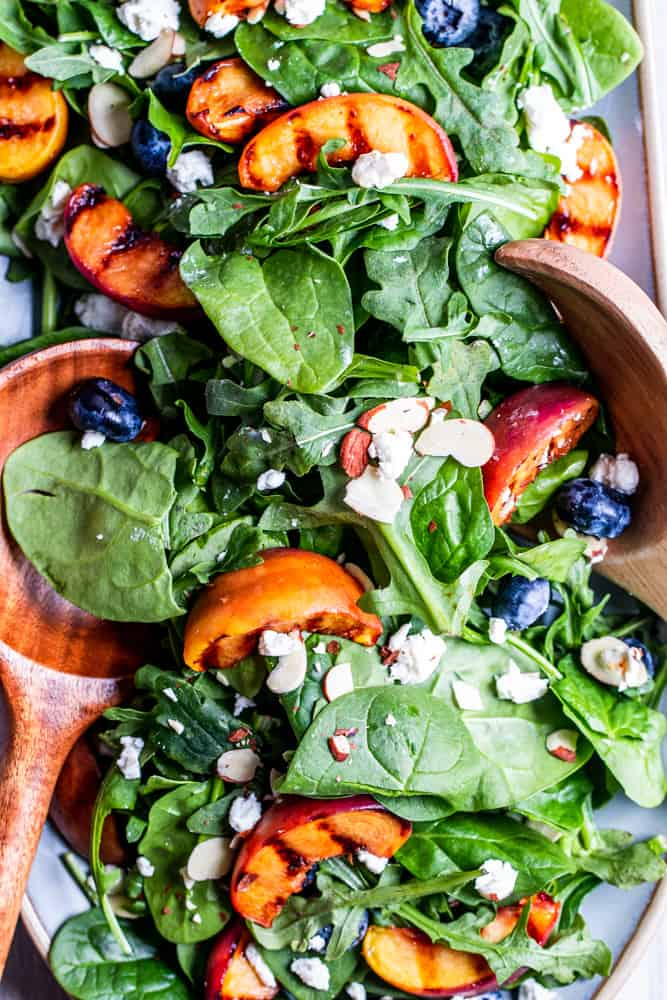 Grilled Peach Salad With Blueberries Erhardts Eat