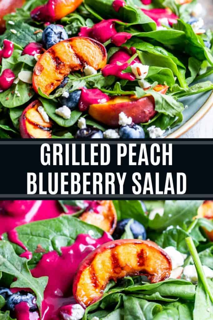 Grilled peach salad recipe pin with white text overlay.