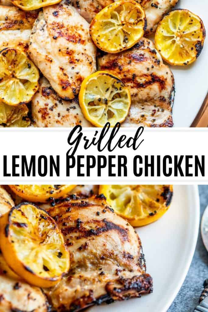 Lemon pepper chicken pin with two images and text overlay.