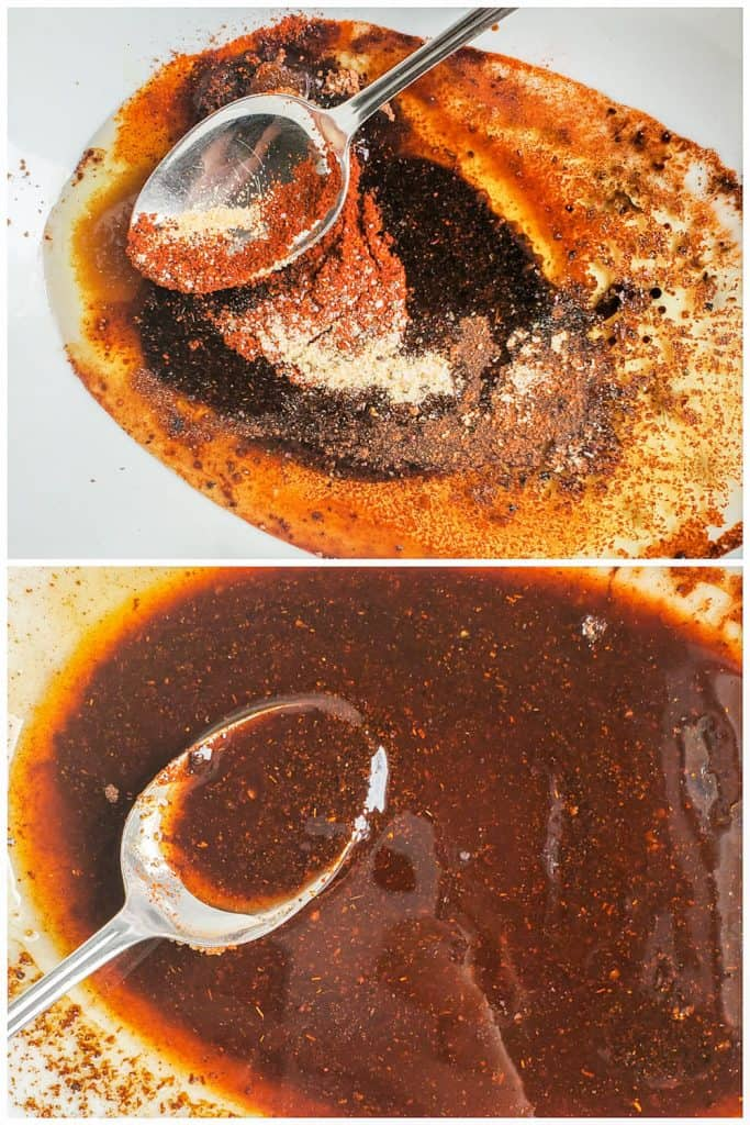 Two prep images showing the marinade being made.