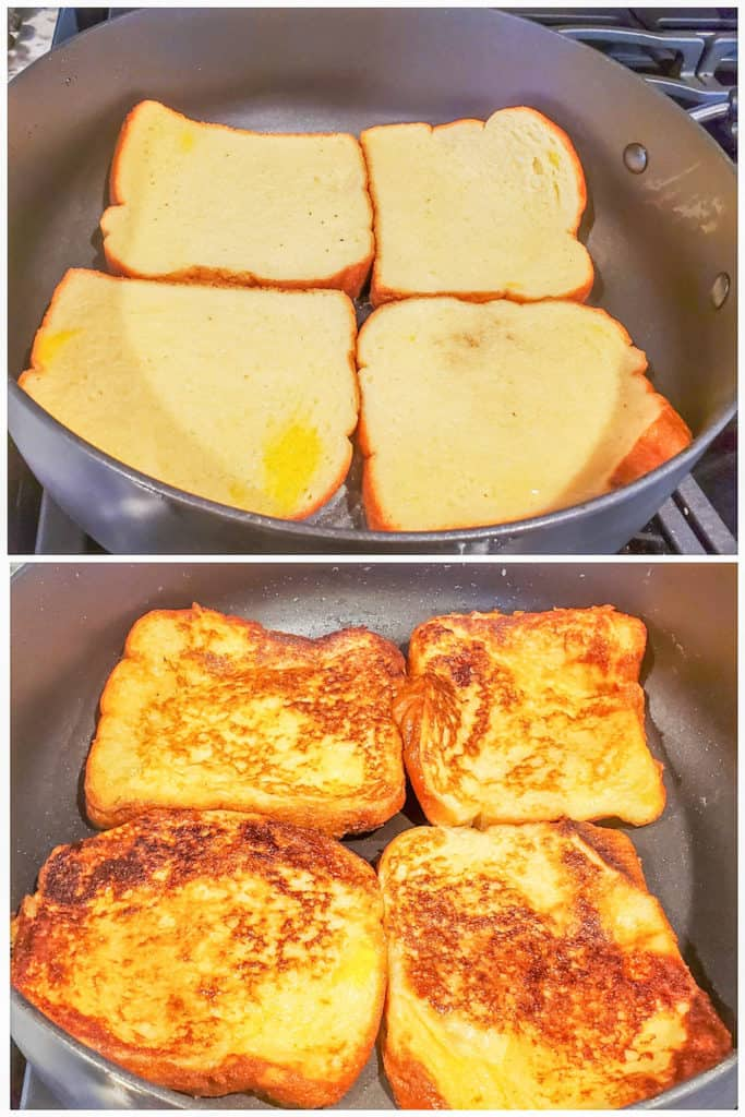 Prep image showing french toast being cooked in black skillet.