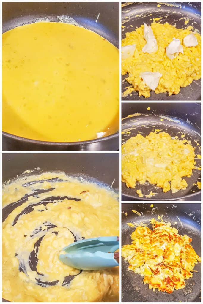 Prep image collage showing eggs being cooked in a black skillet.