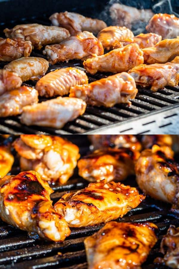 Prep image showing chicken wings on the grill raw then cooked.