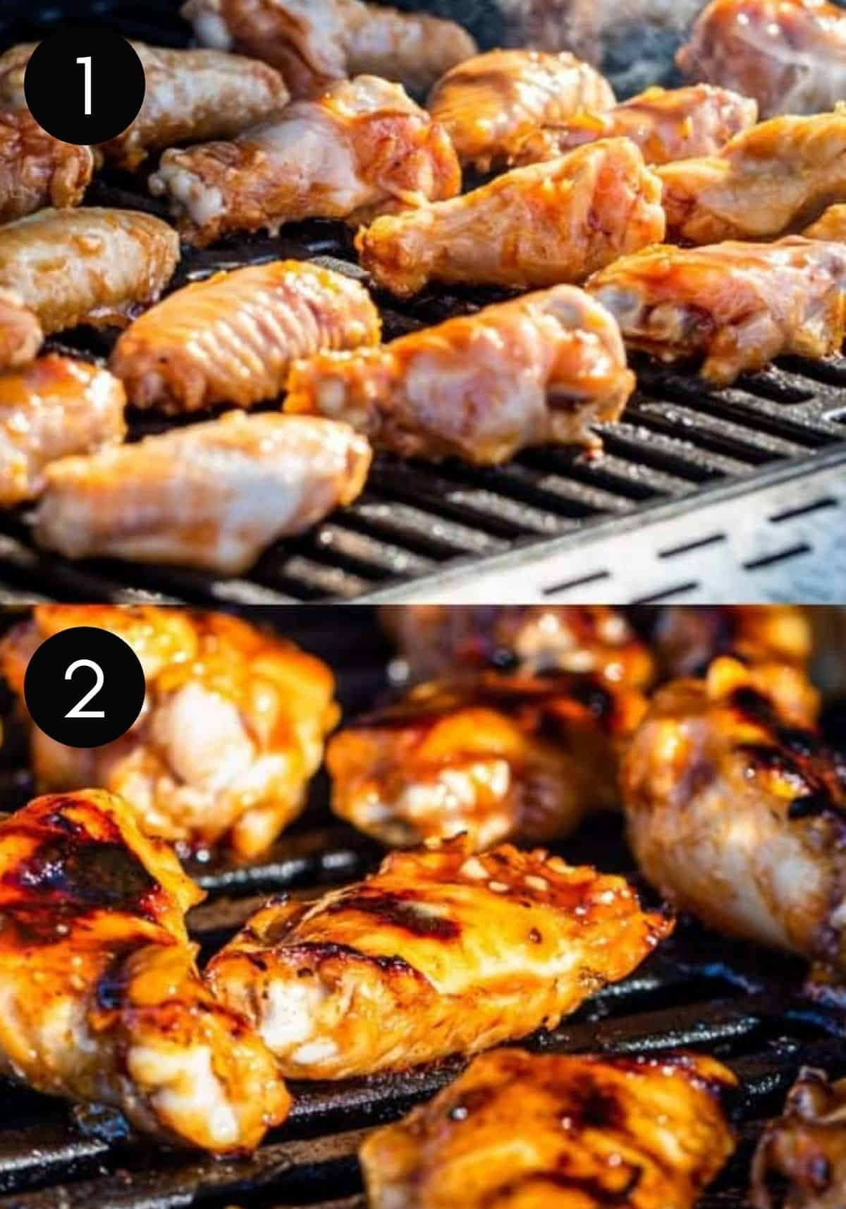 Two image collage showing chicken wings being grilled with numbered pictures.